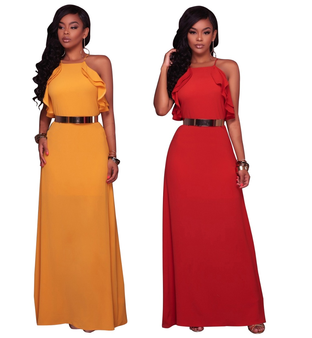 Yellow Spaghetti Strap Maxi Dress