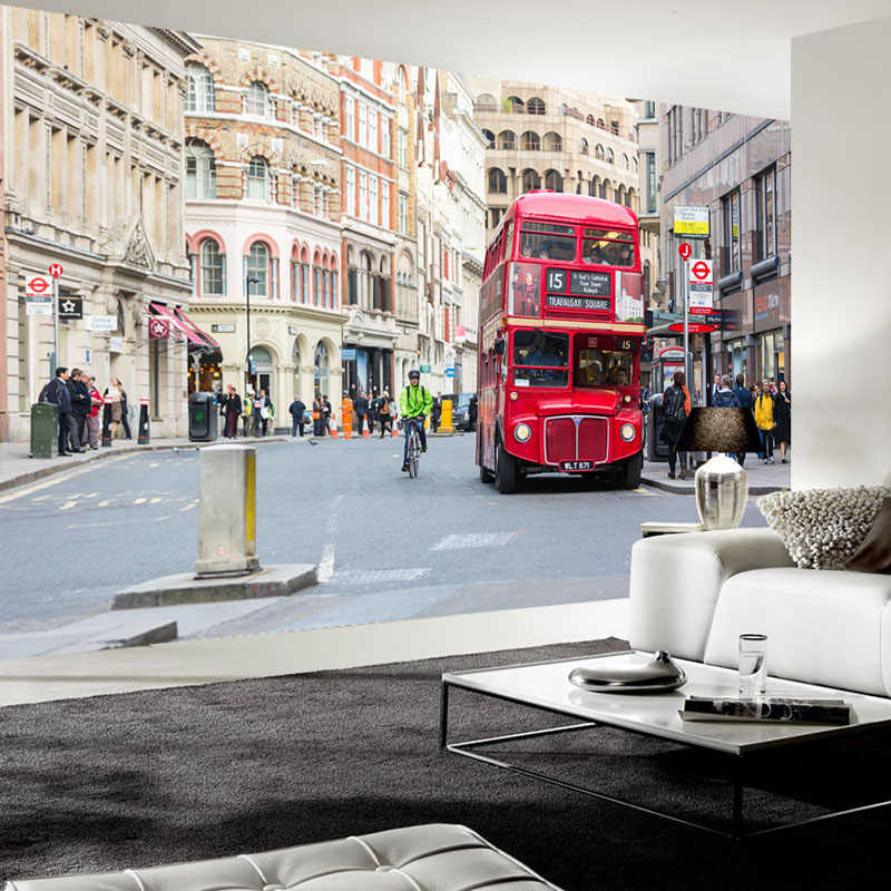 Custom 3D Photo Wallpaper Home Decor Wall Painting London Street View Street Red Bus Mural Living Room Sofa TV Background Wall