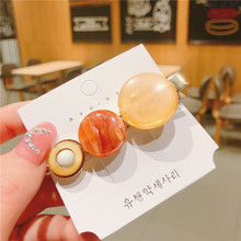 Korea Vintage Acetic Acid Resin Acrylic Amber Round Hairpins Barrettes For Women Girls Fashion Hair Accessories Orange