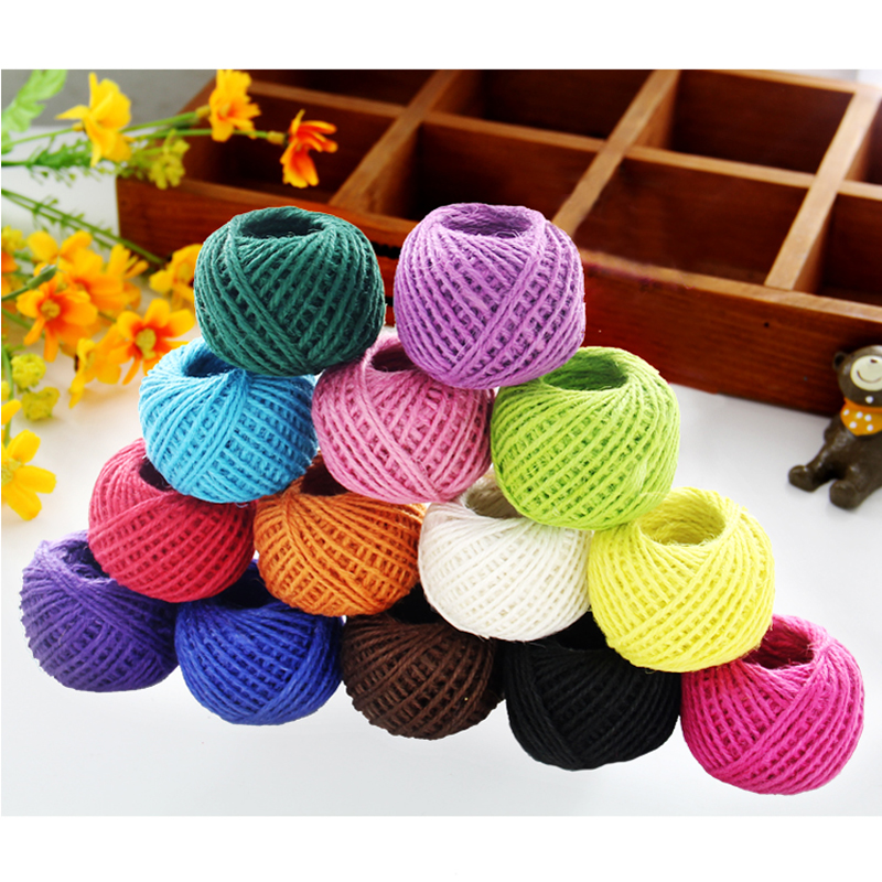 Hot sale 1 roll 25 meters Colored Decorative Twisted Cord DIY Natural Hemp Rope Braided Linen Cord Decorative materials   Mxq002