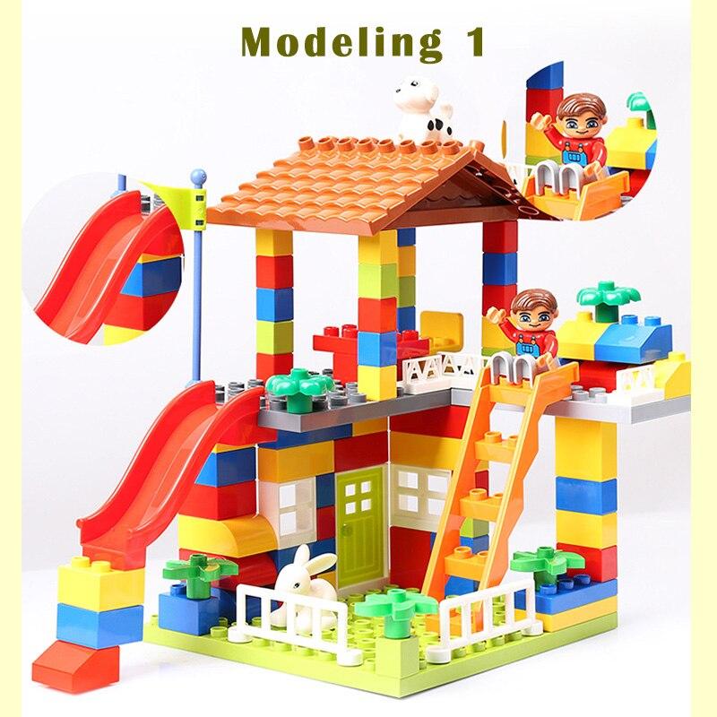 89 stücke DIY Bunte Stadt Haus Dach Große Partikel Bausteine Burg Pädagogisches Spielzeug Für Kinder Kompatibel legoe duplo rutsche