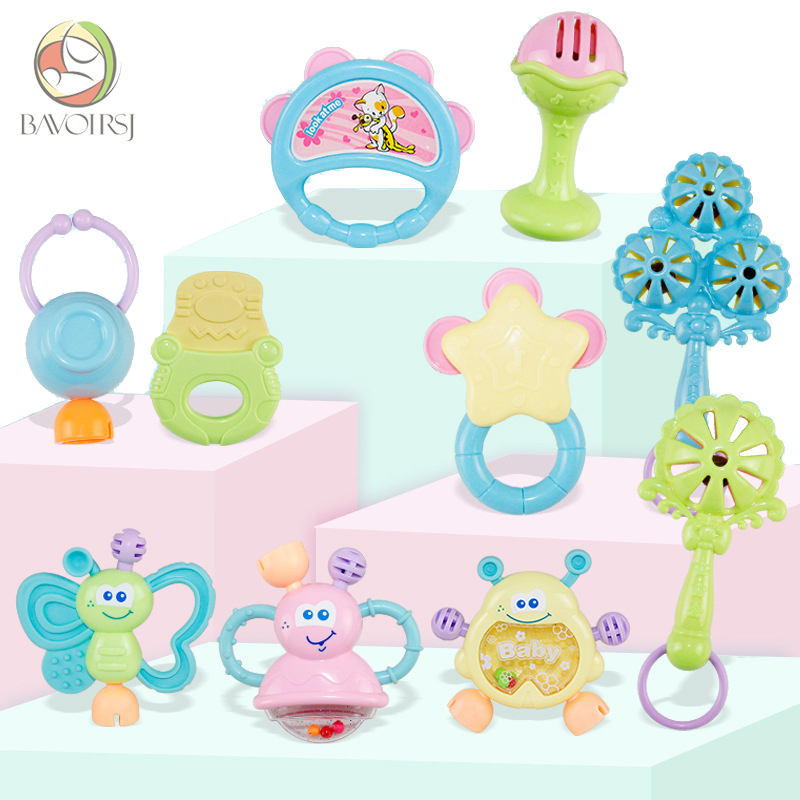 10pc/lot Kids Educational Teething Montessori Toys Crib Mobiles Baby Teether Toy for Girls Waldorf Rattle Toy T0384