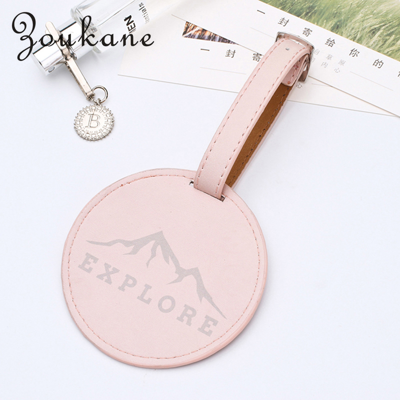 Zoukane Fashion Leather Round Suitcase Luggage Tag Label Bag Pendant Handbag Travel Accessories Name ID Address Tags LT01