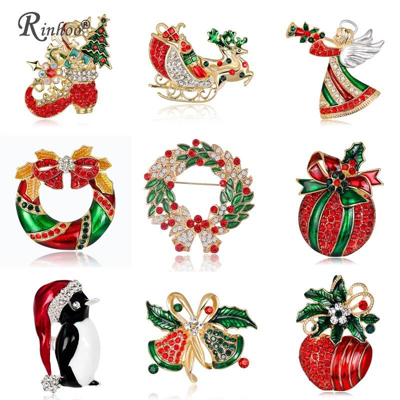 RINHOO 2018 Рождество броши булавки для Для женщин красного цвета ангел обувь с фруктовым принтом ювелирные изделия Рождество для рождественской вечеринки Кристалл Брошь контакты