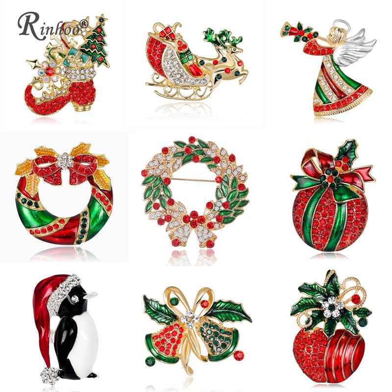 Rinhoo 2018 Natal Bros Pin untuk Wanita Warna Merah Angel Buah Sepatu Perhiasan Natal Pesta Kristal Bros Pin