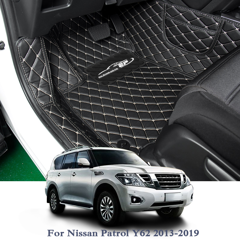 Car Styling Leather Car Floor Mats For LHD Nissan Patrol Y62 13-19 Auto Foot Pads Automobile Carpet Cover Internal Accesseries car interior mats for nissan patrol y62 2012 2018 7seats anti duty pads waterproof carpet mats for patrol y62 2017