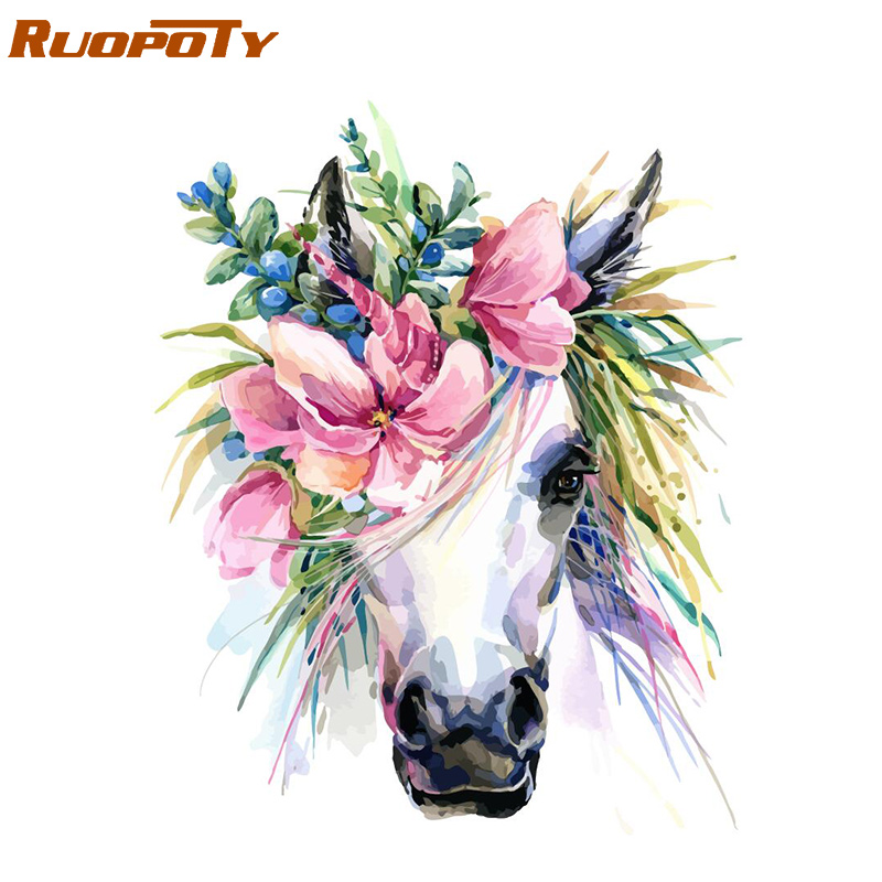 RUOPOTY Frame Flower Horse DIY Painting By Numbers Kit Animals Acrylic Paint By Numbers For Adult Unique Gift Home Decors Arts