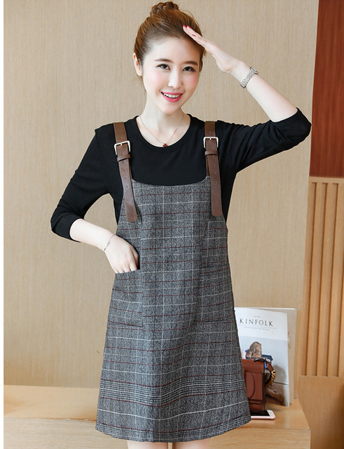 Plus Size L 5xl Women Plaid Dress 2018 Spring Autumn Fashion Black
