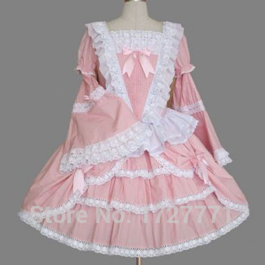 A2 Pink long sleeves Princess cosplay costume for girl classic lolita dress vintage sweet lolita dress women summer dress