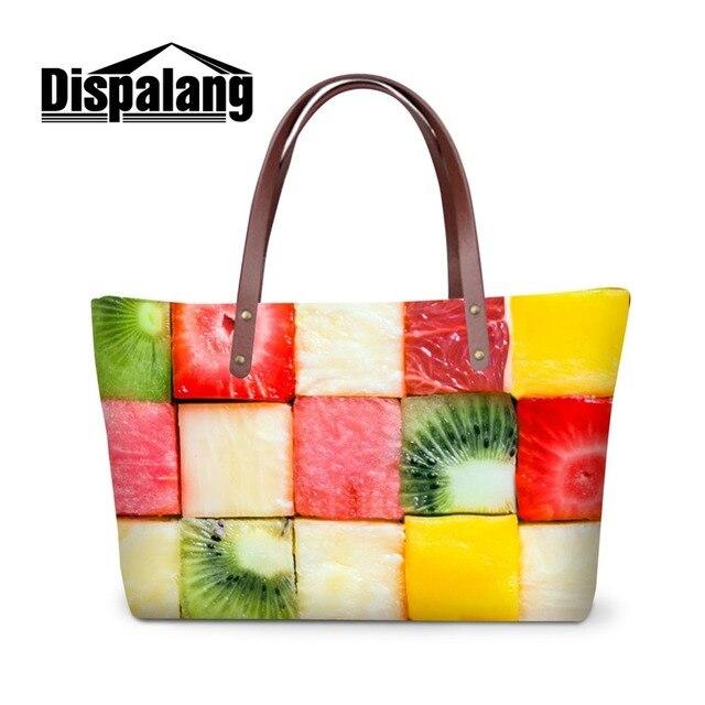 Dispalang летняя сумка для девочек-подростков фрукты Оранжевый напечатана большая  сумка Топ Сумочка Для женщин e7a1a083b41
