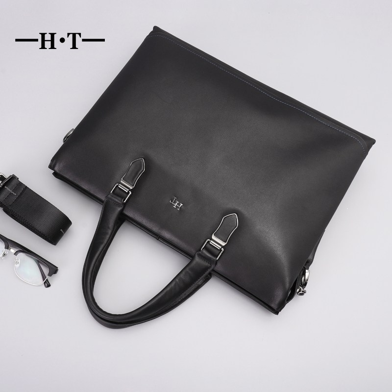 HT Fashion Genuine Leather Famous Brand Men Briefcase Commercial Laptop Briefcase Crossbody Shoulder Bag Mans Handbag Totes business men briefcase handbags genuine leather men bag messenger bags shoulder crossbody bags leather laptop bag male