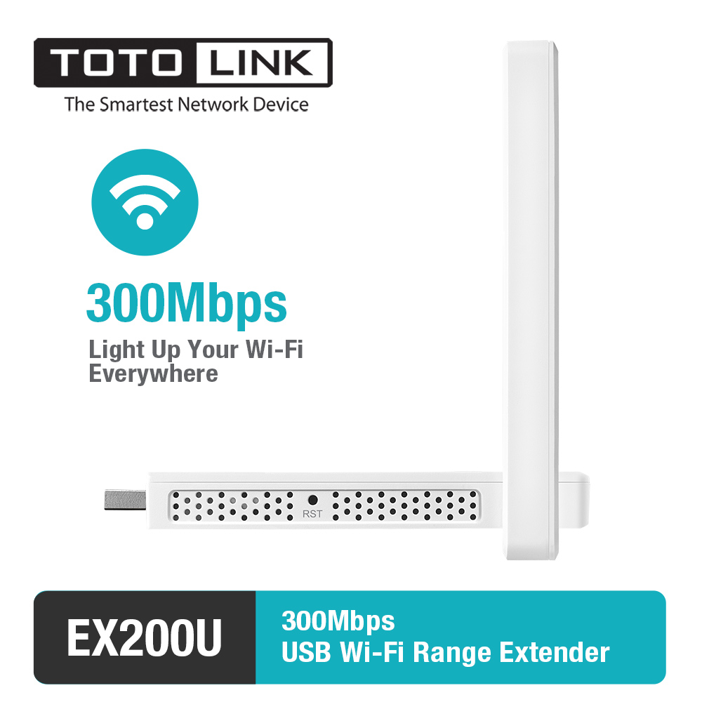 TOTOLINK EX200U 300Mbps USB Easy Setup Range Extender, Wireless WiFi Repeater with 2*4dBi External Antennas