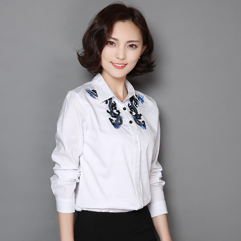 Women Blouses 2018 Vintage Camisa Feminina Vetement Femme Blusas Y Camisas Mujer Embroidered White Cotton Shirt Women Tops