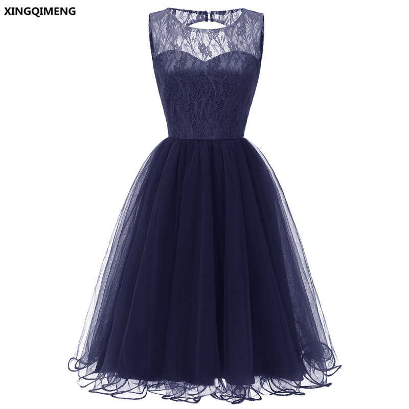In Stock Navy Blue Lace Tulle Cocktail Dresses Elegant Short Pink