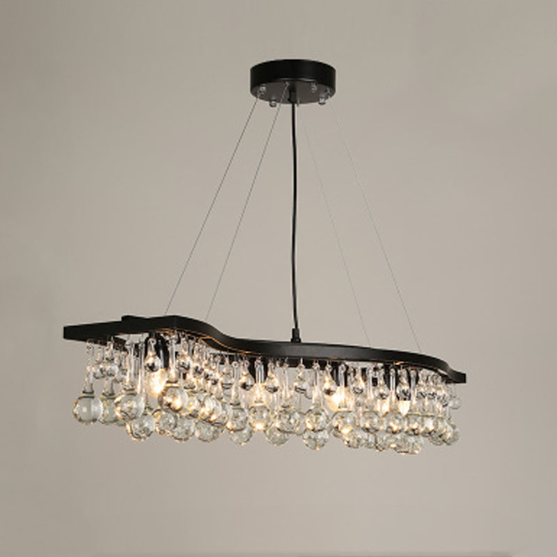American Retro Crystal Pendant Lamp Rectangle Crystal Ball LED Chandelier for Living Room Restaurant Iron Wave Droplight zx american iron candle pendant lamp european crystal led e14 droplight loft retro chandelier for living room restaurant shop