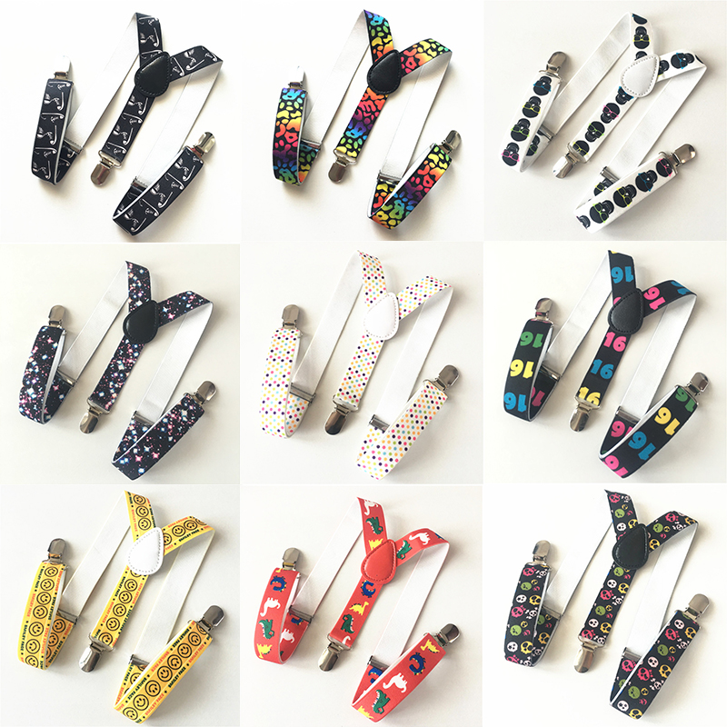 10 Colors Children's Boys Kids Printing Suspenders Cartoon Pattern Elastic Adjustable Straps 3 Clip-on Y-Back Braces ETBD036-47