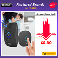 KERUI M525 Home Security Welcome Wireless Doorbell Smart Chimes Doorbell Alarm LED light 32 Songs with Waterproof Touch Button