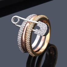 Safety Pin Design Ring Band Cubic Zircon Ring Pave Setting Fashion Women Jewelry
