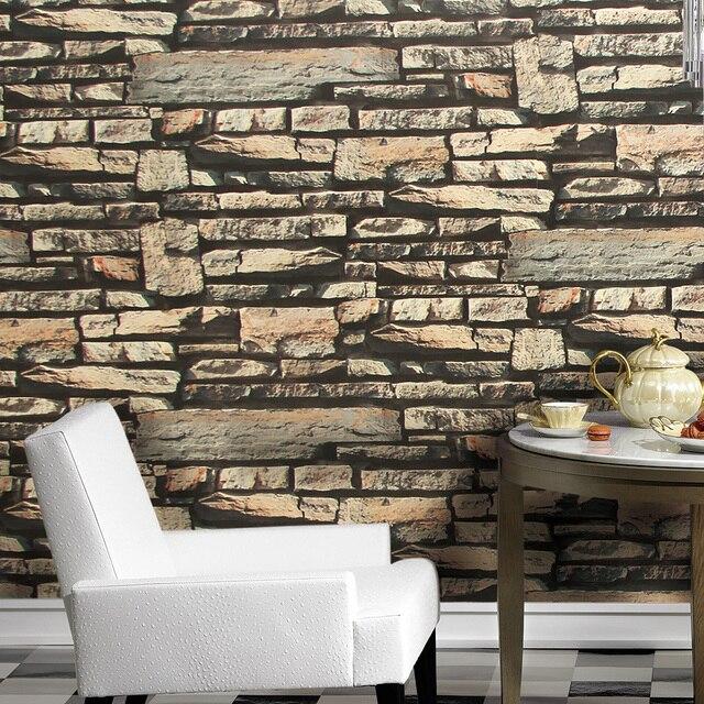 Haokhome Moderne Faux Brique 3d Papier Peint Gris Sable Kaki Texture