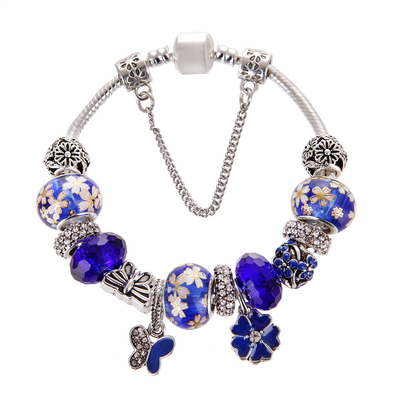 European Style Vintage Butterfly Flower Pendant Silver plated Blue crystal Fashion Pandora Bracelet For Women/Gril gift jewelry