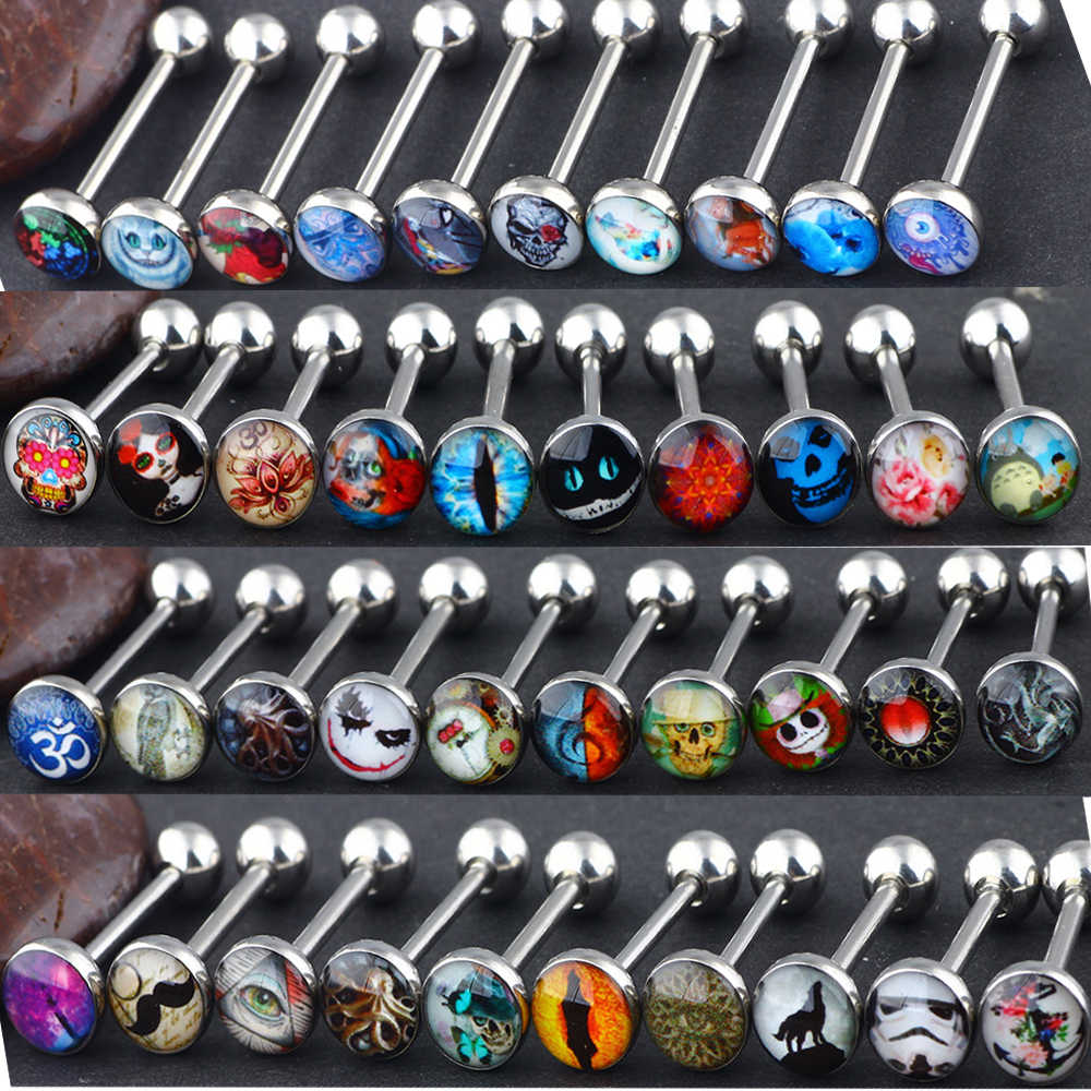 Fanpeijy  1/5pcs mix 5 logo Surgical Steel Metal Tongue Rings Barbells Funny Nasty Wordings Picture Logo  14G Woman Nipple Rings