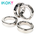 IKOKY Metal Cock Ring 8mm Thickness Delay Ejaculation Male Chastity Device Penis Ring Stainless Steel Sex Toys for Men Male