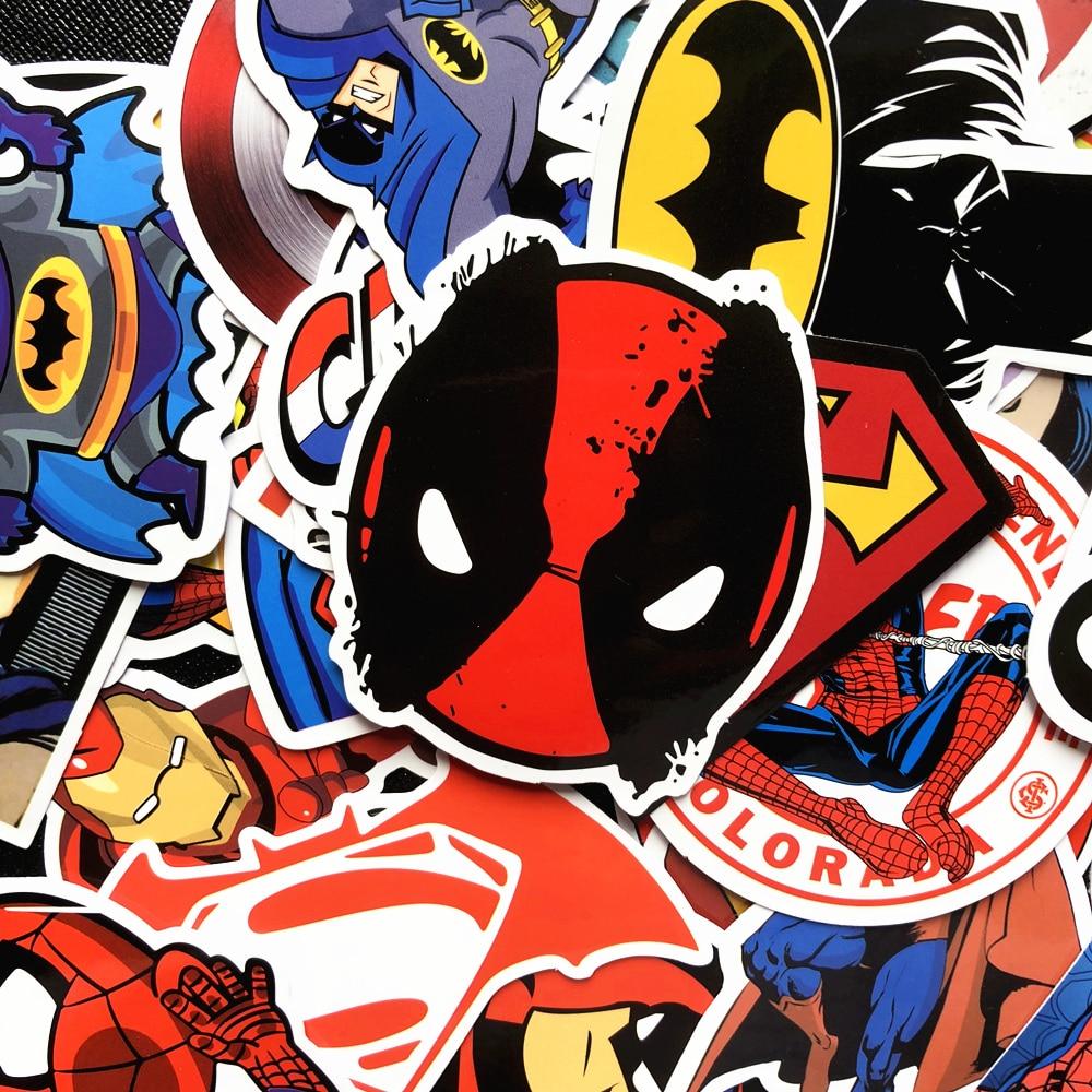 50 шт. супер наклейки герои наклейка Марвел скейтборд мотоцикл багаж наклейка s Для Ноутбука Набор ПВХ водонепроницаемый супер герой Sickers