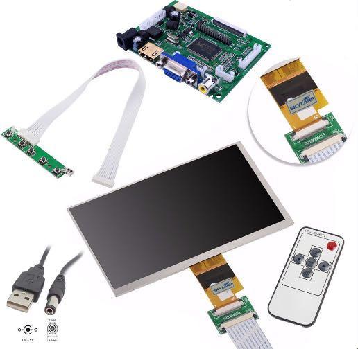 Monitor LCD TFT de 7 pulgadas de alta resolución, pantalla de 1024x600, con placa de Control remoto, 2AV, HDMI, VGA, para Raspberry Pi