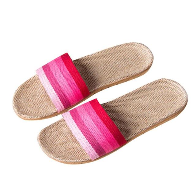 NEW!!flip flops in women's slippers sandals girls Women Men Anti-slip Linen Home Indoor Summer Open Toe Flats  Slippers O0523#30