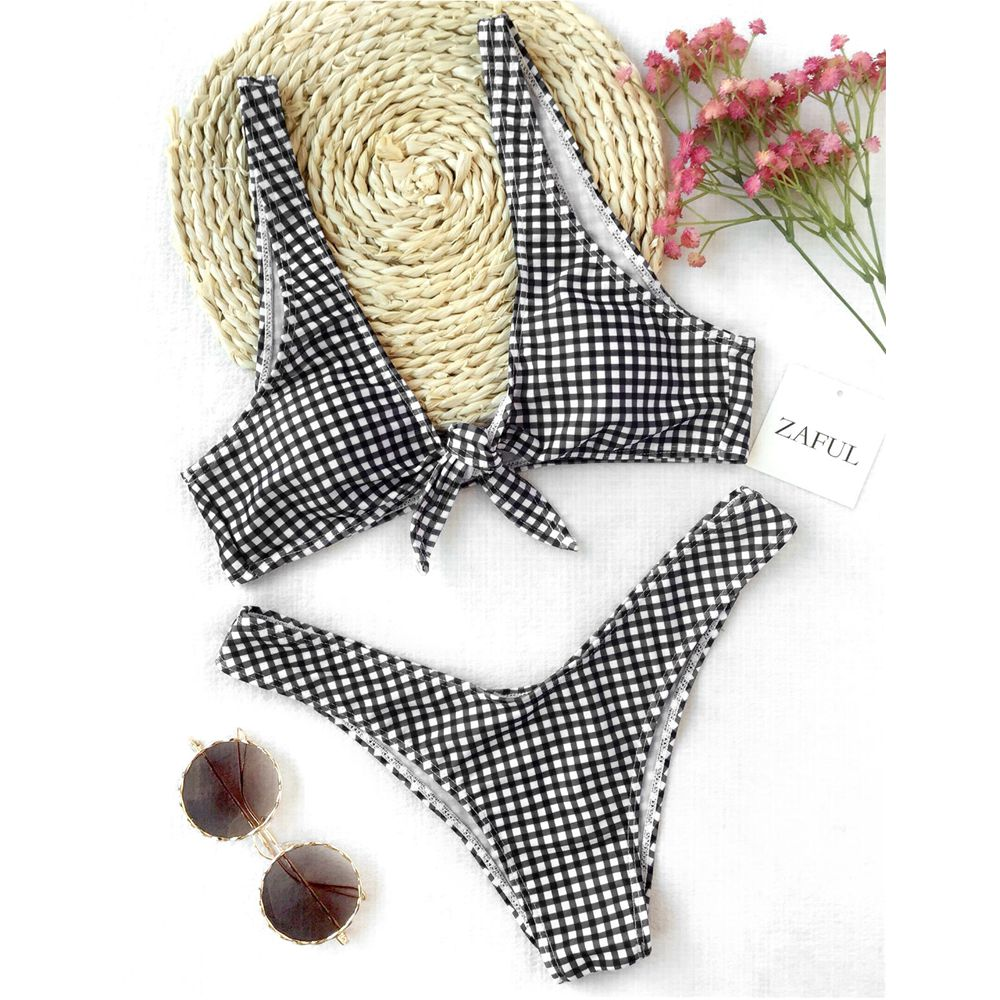 LANGSTAR Bikini 2018 Women Thong Plaid Front Tie Bikini Set Mid Waisted Plaid Plunging Neck Swimsuit Sexy Summer Beach Swimwear universal leather car armrest central store content storage box with cup holder center console armrests free shipping
