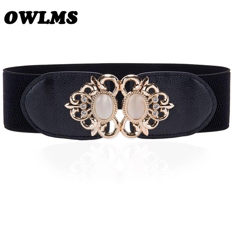 Newest Free Shipping Popular Fashion Opal Cutout Gold Buckle Elastic Waist Belt Strape Leather Wide Cummerbund Trench Gift Women