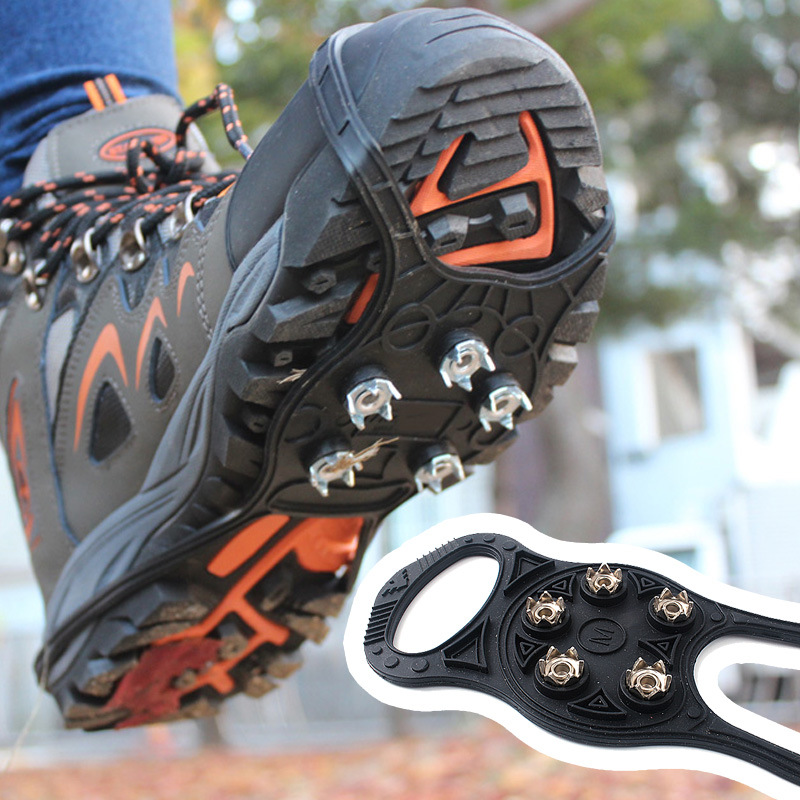 1pair Outdoor Ice claw anti-skid shoe snow equipped mountaineering nail simple snowshoes climbing gear crampons harness rock image