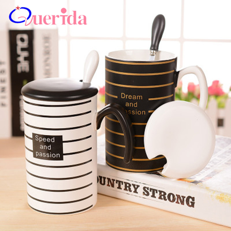 Creative Stripe Coffee Mug Black White Ceramic Mug With Lid Spoon Handle Fashion Gift Mugs Casual Cartoon Drinkware Milk Tea Cup