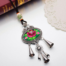 New Bohemian Ethnic Embroidery Necklace Embroidered Big Flower Choker Long Chain Statement Necklace Indian Jewelry For Women