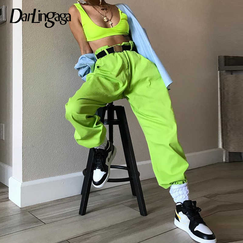 Darlingaga Hip Hop Fluorescent green track pants solid casual loose joggers women streetwear women's pants trousers bottom 2019