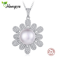 Hongye 925 Silver Necklace 100% Real Natural Freshwater White Pearl Pendants Women pearl Crystal Wedding Classic Fine Jewelry