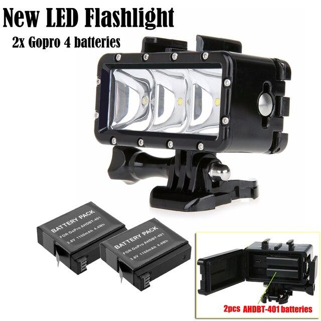 Светодиодный Flash Light подводный Dive лампы и AHDBT-401 Батарея для GoPro Hero 5 3 + 4 4S для XiaoMi yi 4 К SJCAM экшн-камеры