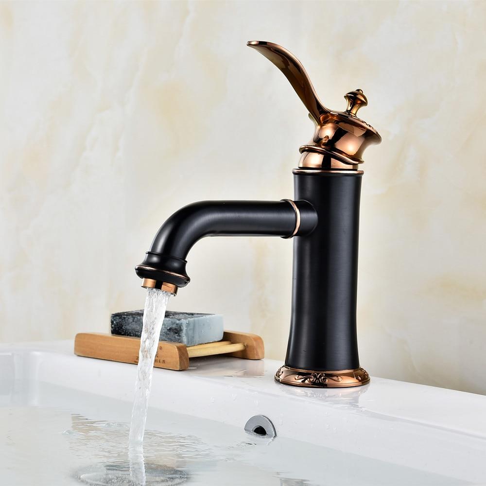 Black Bathroom Faucets ... 02Top Quality Black bathroom faucet Deck mounted Basin Sink Faucet  mixer waterfall torneira tap Torneira Para ...
