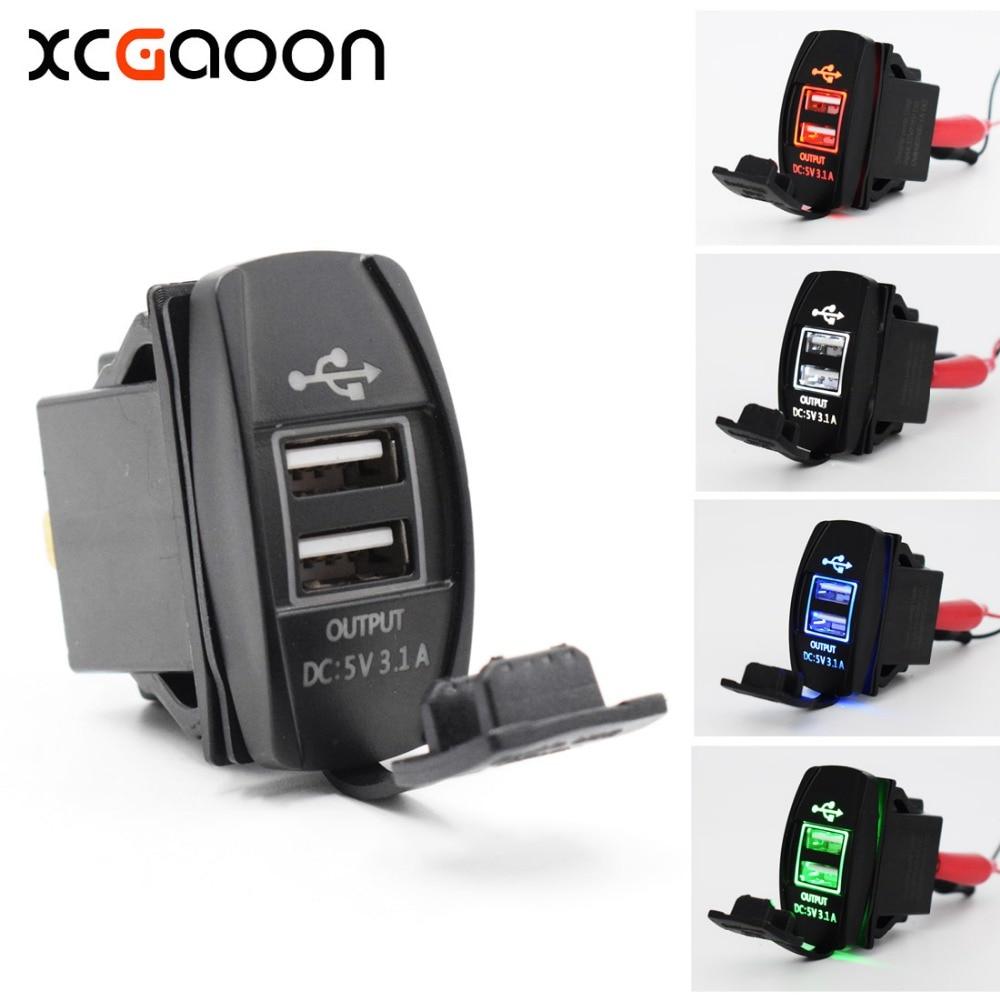 цена на XCGaoon Universal Dual USB Car Charger Power Adapter 5V 3.1A 2 USB Socket For iPhone IPad Samsung fit Honda Toyota Nissan etc