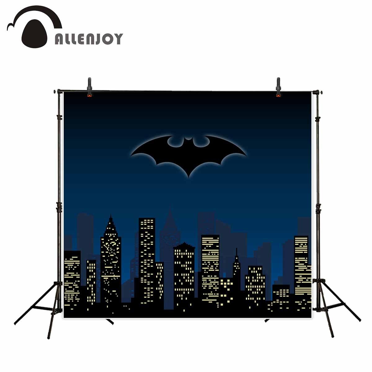 Allenjoy Bats background city night dark blue background super hero backdrop Photostudio backdrop Backgrounds for photographing napapijri guji check dark blue