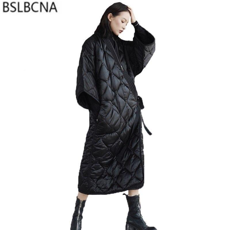 Fashion Belt Loose Plus Size   Parka   Feminina Streetwear Cool Slim Black Clothes Jacket Women Pocket Long Cotton Winter Coat A485