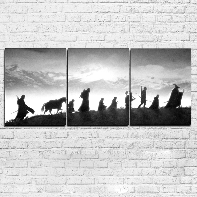 3 Piece Canvas Lord Of The Rings Black White Poster