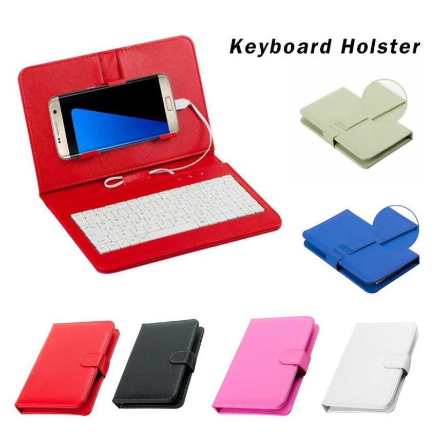 цена на General Wired Keyboard Flip Holster Case For Andriod Mobile Phone 4.2''-6.8'' WH General Wired Keyboard Flip Holster Case