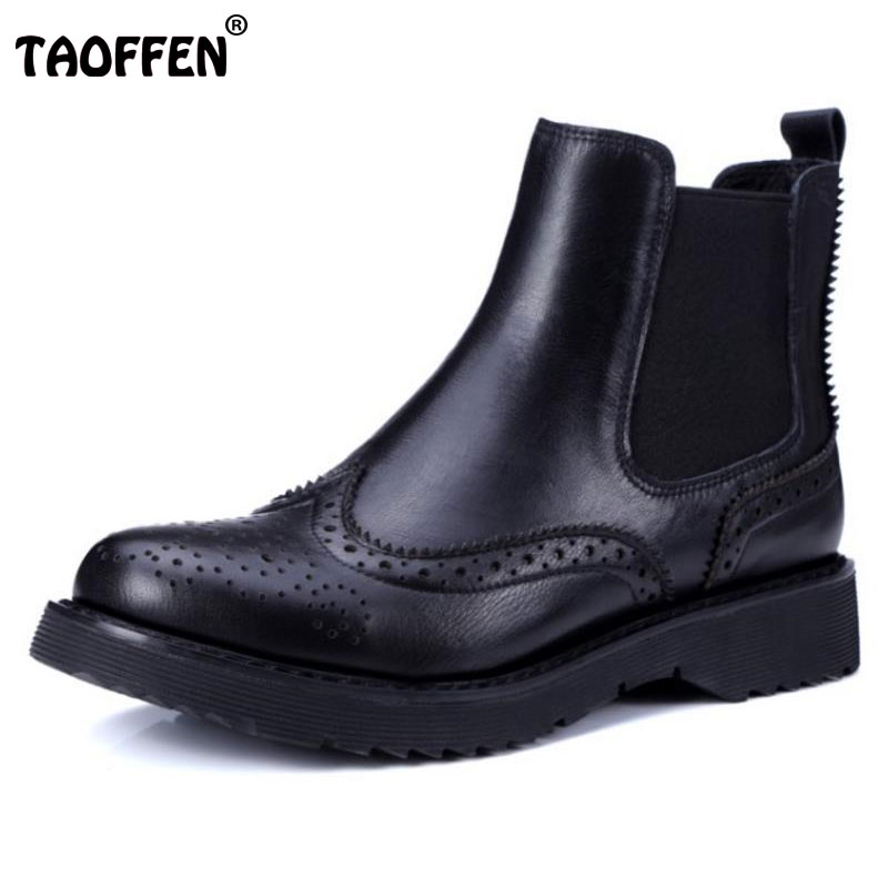 TAOFFEN Size 34-41 Lady Real Leather Warm Ankle Boot Women Hollow Round Toe Low Heel Winter Shoes Women Leisure Footwears vinlle women boot square low heel pu leather rivets zipper solid ankle boots western style round lady motorcycle boot size 34 43