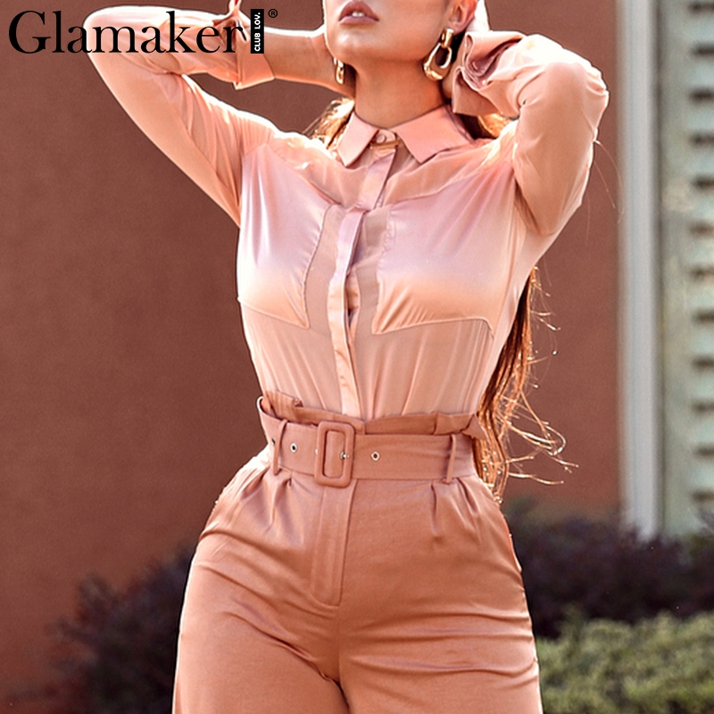 Glamaker Sexy stand neck satin women   blouse     shirt   Office lady long sleeve casual   shirts   Female elegant spring summer   blouse   top