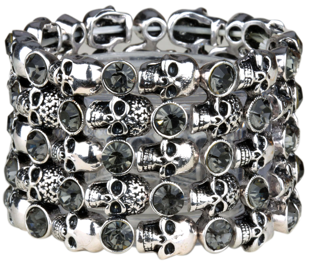 YACQ Skull Skeleton Stretch Cuff Bracelet for Women Biker Bling Crystal Jewelry Antique Silver Color Wholesale Dropshipping D07 4
