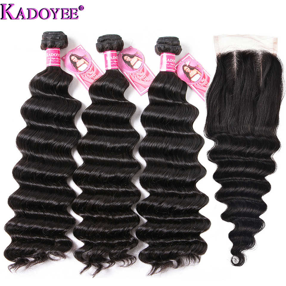 Loose Wave Human Hair Bundles With Closure 4 pcs/lot Brazilian Hair Weave Bundles With Closure Remy Hair Extensions For Women