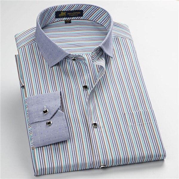 Pauljones 57xx дешевый воротник дизайн с длинными рукавами для мужчин s полосатые рубашки Повседневное платье Мужская рубашка в клетку Высококачественная Мужская одежда - Цвет: 5743