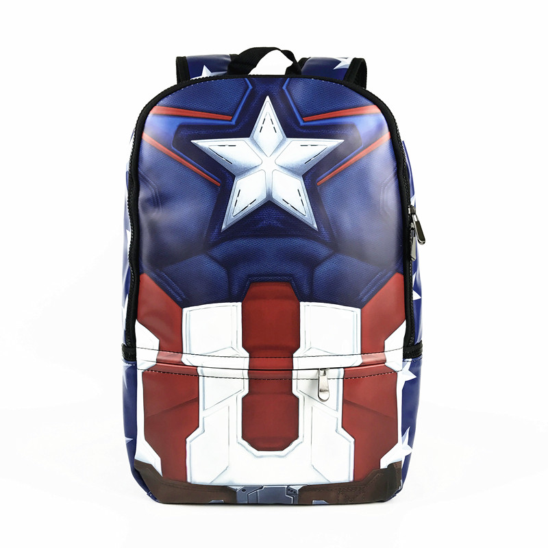 New Arrival Superhero Muscle Captain America Deadpool Backpack Anime Marvel and DC PU Leather Backpacks Laptop Bag School Bag цены