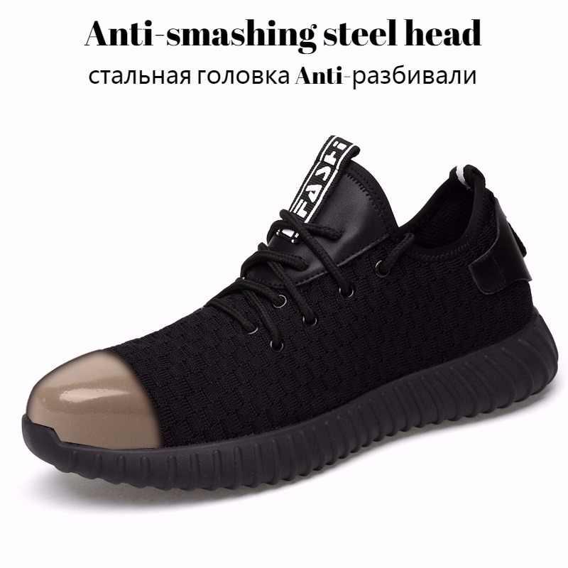 Erkekler delinmeye dayanıklı çelik ayakkabı burnu iş ayakkabısı güvenlik ayakkabıları siyah file kumaş aşınmaya dayanıklı nefes erkek iş ayakkabısı botları